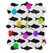 DENY Designs Elisabeth Fredriksson Happy Fish Quatrefoil Clock, Small