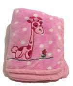 Super Soft Pink Polka Dot Giraffe Baby Blanket