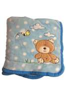Super Soft Ligth Blue Polka Dot Brown Bear Baby Blanket