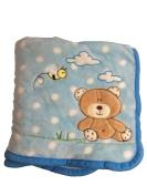Super Soft Ligth Blue Polka Dot Brown Bear Baby Blanket