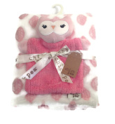 Chick Pea Pink Owl Security Blanket and Baby Blanket Set