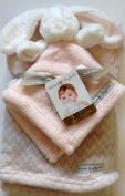 Blankets & Beyond Gift Set - 2 pc. Pink Long Ear Bunny Security & Pink Grey Stripe Blanket