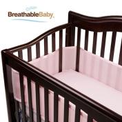 100% Polyester, Soft, Easy Wrap Design Light Pink Crib Liner