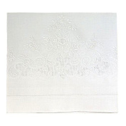 White Linen Baby Sheet Set with Appenzelle Embroidery (Set Includes