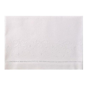 White Linen Baby Sheet Set with Bowknots and Dots Embroidery (Set Includes