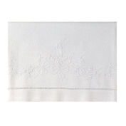 White Linen Baby Sheet Set with Madeira Bowknots Embroidery (Set Includes