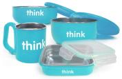 Bento Box, Soup Bowl, Baby Bowl, Kids Cup Feeding Set in Light Blue