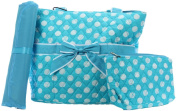 BLUE WITH WHITE POLKA DOTS 3pc nappy BAG SET