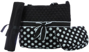 BLACK WITH WHITE POLKA DOTS 3pc nappy BAG SET