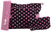 BLACK WITH PINK POLKA DOTS 3pc nappy BAG SET