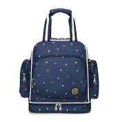 YuHan Baby Nappy Bag Travel Backpack Large Waterproof Shoulder Bag Fit Stroller Blue Folower
