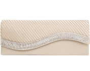 Jubileens Women's Pleated Stain Evening Handbag Flap Wavy Crystal Clutch Party Bag