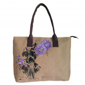 HeySun Women's Simple Top Handle Tote Bag Hand-painted Orchid Linen Shoulder Bag Big Capacity