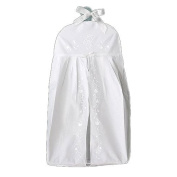 White Linen Nappy Stacker with Madeira Embroidery