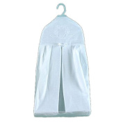 White Linen Nappy Stacker with Madeira Crest Embroidery
