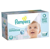 Pampers Wetness indicator Gentle hypoallergenic Swaddlers Sensitive Baby Nappies ,Size 4 Economy Pack Plus, 128 Count
