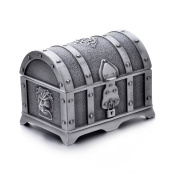 REINDEAR Vintage Pewter Tooth Fairy Treasure Chest Trinket Jewellery Box US Seller ...