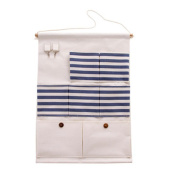FHD Buttons Cotton/Linen Fabric Wall Door Closet Hanging Organiser Shelves 7-Pocket with 2-hook Storage Bag