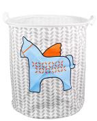 EgoEra Premium Cartoon Foldable Cotton Line Laundry Basket Folding Children Toys Organiser Storage Basket Tidy Clothes Holder without Lids, Blue Horse