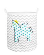 EgoEra Premium Cartoon Foldable Cotton Line Laundry Basket Folding Children Toys Organiser Storage Basket Tidy Clothes Holder without Lids, Star Horse