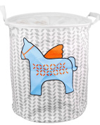 EgoEra Premium Cartoon Foldable Cotton Line Laundry Basket Folding Children Toys Organiser Storage Basket Tidy Clothes Holder with Lids, Blue Horse