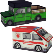 Two Toy Chest Organisers, One Pickup Truck Toy And One Ambulance,
