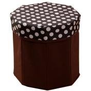 BUYITNOW Storage Box Folding Octagonal Shaped Dots Non-woven Fabrics Ottoman Kids Seat Box Black