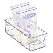 mDesign Baby Food Organiser Bin for Breastmilk Storage Bags/Formula - 25cm x 10cm x 7.6cm , Clear