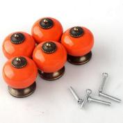 WICOO 5pcs 30mm Dragon Ball Ceramic Door Knobs Bin Dresser Cabinet Cupboard Drawer Locker Vintage Retro Pull Handle