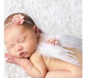 NEW Newborn Baby Girl White Feather Angel Wings & Headband Set, Newborn Photo Prop