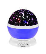 YARBAR Baby Night Light Moon Star Projector 360 Degree Rotation - 4 LED Bulbs 9 Light Colour Changing With USB Cable