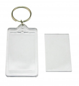 10 Pcs Transparent Clear Acrylic Blank DIY Photo Picture Frame Key Chains Key Ring Keychain, Rectangle Shape