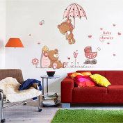 Teddy Bear Wall Stickers Children Room Home Decor Baby Adhesive for Kids Room