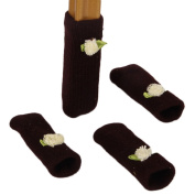 Special Life 4pcs Non-slip & Anti-scratch Knitting Wool Chair Table Legs Cover Sleeve Sock Floor Protector with Small Flower Decor