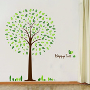 SHZONS Happy Tree DIY Wall Wallpaper Stickers Living Bedroom Art Decor Mural Kid's Child Room Decal Waterproof Home Decoration