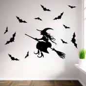 Halloween Witch Wall Art Door Stairs Living Room Bedroom Decor Teenager Kids Children Decal Wall Sticker Murals Wallpaper