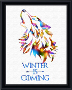Aprilskys Workshop 11X14 Winter is Coming wolf Canvas Art Print Wall Decor Home Décor Room Deco Kids Room Girls Room Boys Room Teen Room Inspirational Wall Art Gift A454