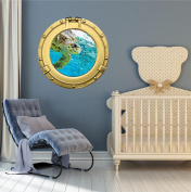 90cm Porthole Ship Window Ocean Sea View GREEN SEA TURTLE #2 BRASS Wall Sticker Kids Decal Baby Room Home Art Décor Graphic LARGE