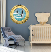 90cm Porthole Ship Window Ocean Sea View BOTTLE NOSE DOLPHINS #3 BRASS Wall Sticker Kids Decal Baby Room Home Art Décor Graphic LARGE