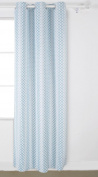 Deconovo Grommet Top Gradient Moroccan Print Thermal Insulated Bedroom Window Blackout Curtain 110cm x 210cm Teal One Panel