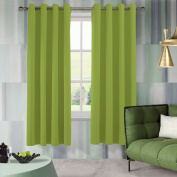 Aquazolax Thermal Insulated Eyelets Window Treatment Blackout Curtains for Kitchen, 130cm x 210cm , Fresh Green, 2 Panels