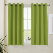Aquazolax Readymade Solid Thermal Insulated Grommets Top Blackout Curtains for Living Room, 130cm x 160cm , Fresh Green, 1 Pair