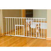 Carlson White Mini 46cm -tall Pet Gate with Pet Door - Chew Proof