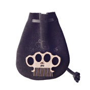 Brass Knuckles Baby Beard & Musatche Coin Pocket Comb W/ Handmade Leather Pouch By Beard Gains