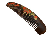 Chacate Preto Wood Curved Comb - Red & Light Green Flowery Design on the back and sides