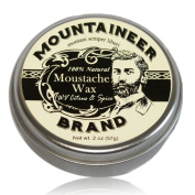 Moustache Wax by Mountaineer Brand - All-Natural, No Residue, Clear and Easy to Use, 60ml Tin