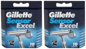 "Gilletté Sensor Excel Refill Cartridges 20 Count ""Made In Germany"""