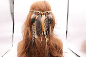 GAOMEI -Hair ornament handmade beaded feather feathered pendant with headband headband