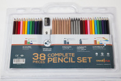 38 piece Complete Artist Pencil Set - Coloured (12), Watercolour (12), Drawing Sketching (8), Graphite Sticks (4) - FREE Sharpener and Eraser - Reusable packaging to store products - Great art supplies