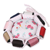 Neoviva Fabric Coated Pin Cushion for Needlework with 8 Replaceable Rolls of Thread in Different Colours, Floral Polka Dots Roses